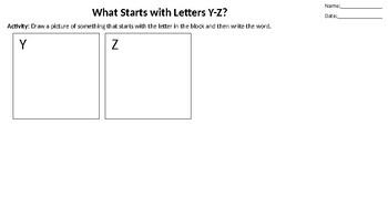 Alphabet Drawing Worksheet
