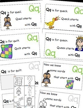 Letter Q Alphabet Emergent Reader and Cut and Paste Activities Reader