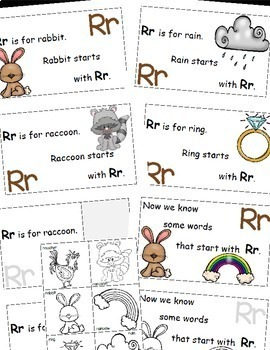 Letter R Alphabet Emergent Reader and Cut and Paste Activities Reader