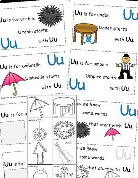 Letter U Alphabet Emergent Reader and Cut and Paste Activities Reader