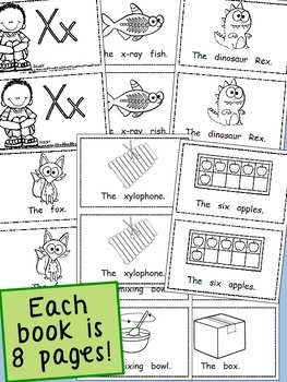 Alphabet Emergent Readers Set, 52 books, 416 printable sheets