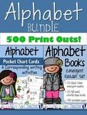 Alphabet Emergent Readers Set & Pocket Chart Cards BUNDLE - 500 pages