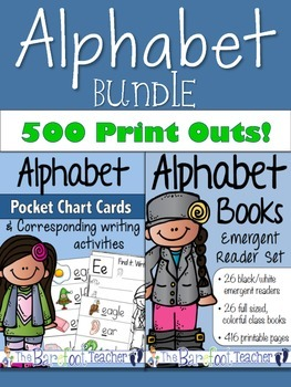 Alphabet Emergent Readers Set & Pocket Chart Cards BUNDLE - 500 pages
