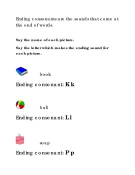 Alphabet Ending Consonants Letters K L P Kindergarten