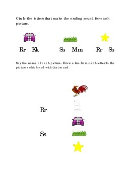 Alphabet Ending Consonants Letters R S Kindergarten