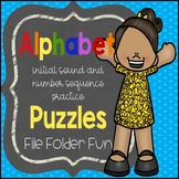 Alphabet File Folder Games - Puzzles, Beginning Letter Sounds, Number Sequencing