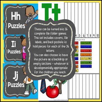 Alphabet File Folder Games - Puzzles, Beginning Letter Sounds, Number Sequencing