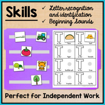Alphabet File Folder Activities for Special Education - Picture to Word