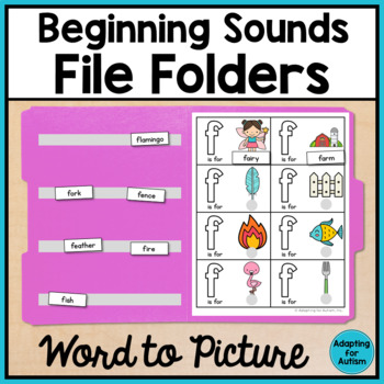 Alphabet File Folder Activities for Special Education - Word to Picture