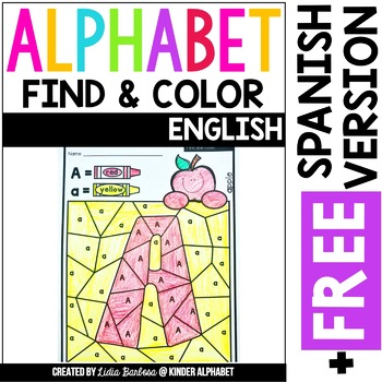 Alphabet Find and Color {English plus Free Spanish version}
