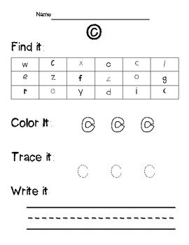 Alphabet Find it, Color it, Write it Worksheets (Lowercase Letters)