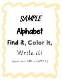 Alphabet Find it, Color it, Write it Worksheets (Free Sample)