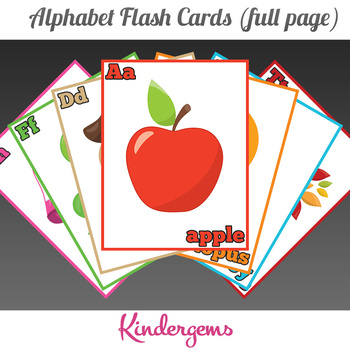 Alphabet Flash Cards (Full Page) Instant Download PDF; Pre