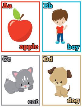 Alphabet Flash Cards Instant Download PDF; Preschool, Kindergarten, School
