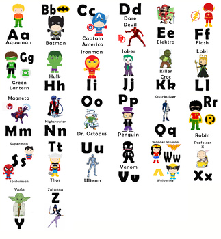 Alphabet Flash Cards - Pre-k and Kindergarten - Superhero Alphabet