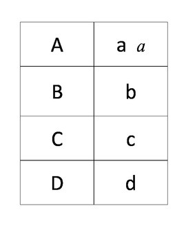 Alphabet Flash Cards or Matching Game