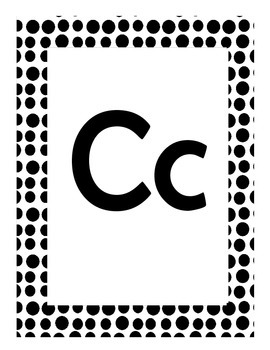 Alphabet Flash Cards/Bulletin Board Signs  (Black Dots) (Large)