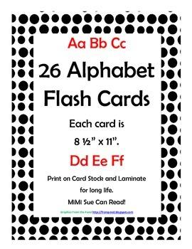 Alphabet Flash Cards/Bulletin Board Signs  (Black Dots) (Large)