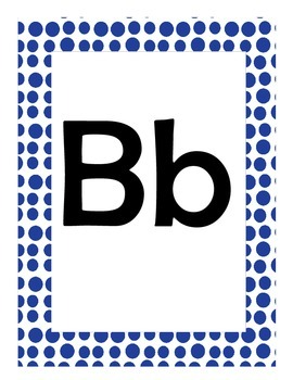 Alphabet Flash Cards/Bulletin Board Signs  (Blue Dots) (Large)