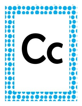 Alphabet Flash Cards/Bulletin Board Signs  (Bright Blue Dots) (Large)