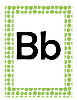 Alphabet Flash Cards/Bulletin Board Signs  (Bright Green Dots) (Large)