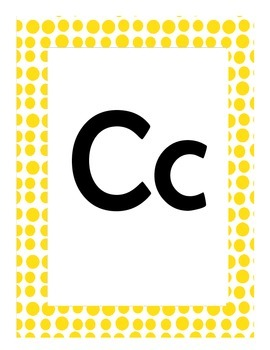 Alphabet Flash Cards/Bulletin Board Signs  (Bright Yellow Dots) (Large)