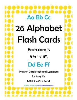 Alphabet Flash Cards/Bulletin Board Signs  (Bright Yellow
