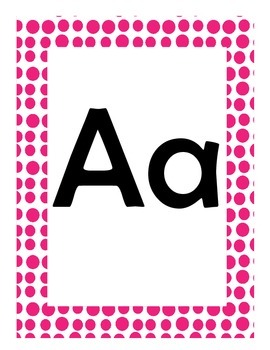 Alphabet Flash Cards/Bulletin Board Signs  (Hot Pink Dots) (Large)