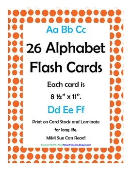Alphabet Flash Cards/Bulletin Board Signs  (Orange Dots) (Large)