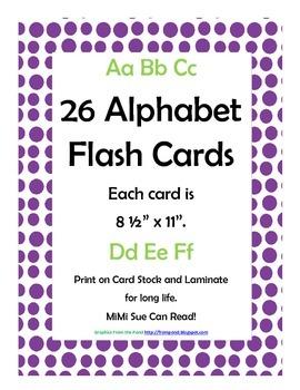 Alphabet Flash Cards/Bulletin Board Signs  (Purple Dots) (Large)