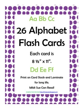 Alphabet Flash Cards/Bulletin Board Signs  (Purple Dots) (Large)