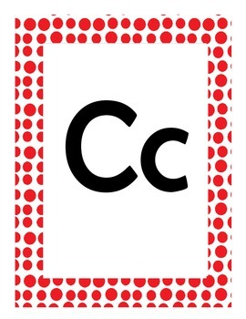 Alphabet Flash Cards/Bulletin Board Signs  (Red Dots) (Large)
