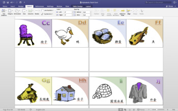 Alphabet Flashcard (A-Z) with Pictures, English, and Chinese!