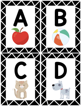 Alphabet Flashcards Black and White Frame