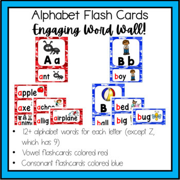 Alphabet Flashcards/Pictures with Printables for Centers and Stations