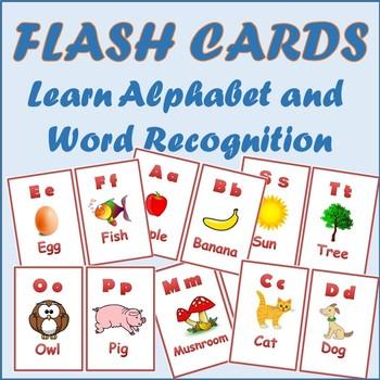Alphabet Flashcards Words Recognition PreK, Kindergarten