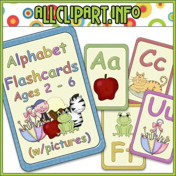 Alphabet Flashcards w/Pictures Teaching Resource