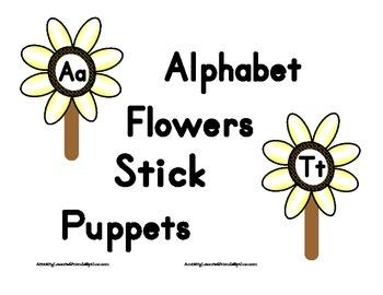 Alphabet Flowers Stick Puppets