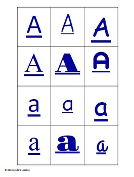 Full Alphabet Font Sort Printables- lower and upper case letters, numbers