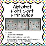 Full Alphabet Font Sort Printables- lower and upper case l