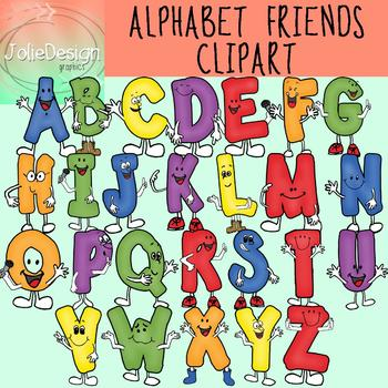 Alphabet Friends Clipart Set - Color and Line Art 52 pc set