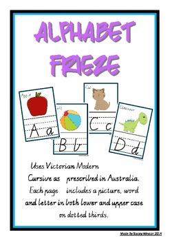Alphabet Frieze / Charts - Vic Cursive - lower case