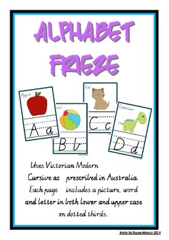 Alphabet Frieze / Charts - Vic Cursive - lower case