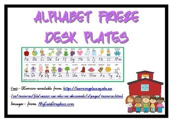 Alphabet Frieze Desk plates - Queensland Cursive