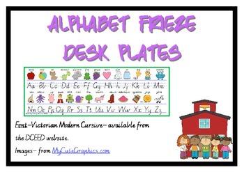 Alphabet Frieze Desk plates - Victorian Cursive