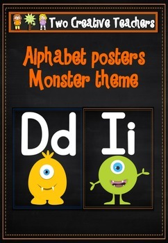 Alphabet Frieze Posters - Monsters and Chalkboard Theme