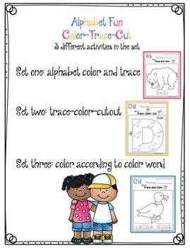 "Alphabet Fun Color-Trace-Cut ""No Prep"""