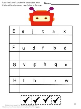 Alphabet Uppercase Lowercase Matching No Prep Cut and Paste Printables