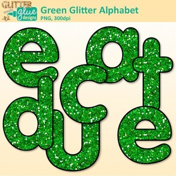 Green Glitter Alphabet Clip Art {Great for Classroom Decor & Resources}
