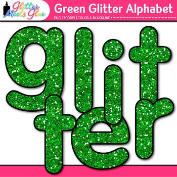 Green Glitter Alphabet Clip Art {Glitter Meets Glue}